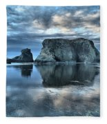 Bandon Beach Sunset Reflections Fleece Blanket