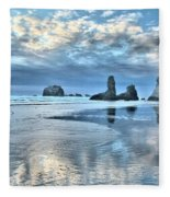 Bandon Sea Stack Reflections Fleece Blanket