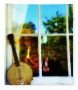 Banjo Mandolin In The Window Fleece Blanket