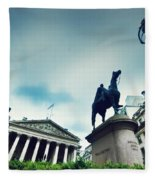 Bank Of England The Royal Exchange And The Wellington Statue Londonuk Fleece Blanket