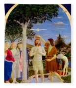 Baptism Of Christ - Oil On Canvas Fleece Blanket