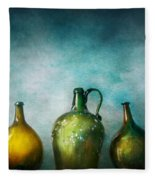 Bar - Bottles - Green Bottles  Fleece Blanket by Mike Savad