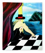 Bar Scene Lady With Hat By The Water Fleece Blanket