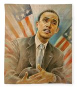 Barack Obama Taking It Easy Fleece Blanket