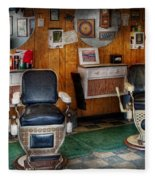 Barber - Frenchtown Nj - Two Old Barber Chairs  Fleece Blanket