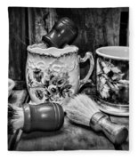 Barber - Shaving Mugs And Brushes In Black And White Fleece Blanket