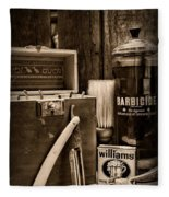 Barber - Vintage Barber Tools - Black And White Fleece Blanket