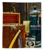 Barber - Vintage Barber Tools  Fleece Blanket