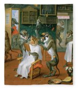Barbers Shop With Monkeys And Cats Oil On Copper Fleece Blanket
