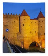 Barbican At Night In The Old Town Of Warsaw Fleece Blanket