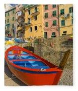 Barca Rossa A Rio Maggiore Fleece Blanket