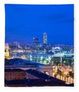Barcelona And Its Skyline At Night Fleece Blanket