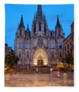 Barcelona Cathedral In The Evening Fleece Blanket