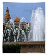 Barcelona Fountain Placa De Catalunya Fleece Blanket