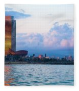 Barcelona Skyline From Sea Fleece Blanket