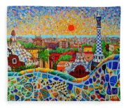 Barcelona View At Sunrise - Park Guell  Of Gaudi Fleece Blanket