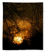 Bare Tree Branches With Winter Sunrise Fleece Blanket