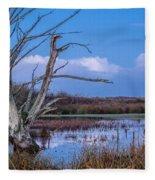 Bare Tree In Marsh Fleece Blanket