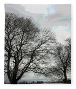 Bare Trees Winter Sky Fleece Blanket