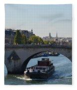 Barge On River Seine Fleece Blanket