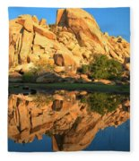 Barker Dam Pond Reflections Fleece Blanket