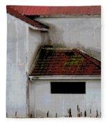 Barn - Geometry - Red Roof Fleece Blanket