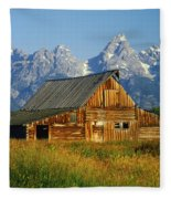 1m9394-barn And The Tetons Fleece Blanket