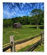 Barn At Hartwood Acres Under Beautiful Sky Fleece Blanket