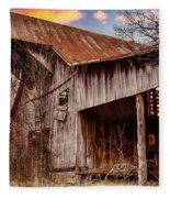 Barn At Sunset Fleece Blanket