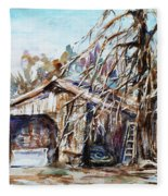 Barn By The Tree Fleece Blanket