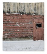 Barn Door In Winter Fleece Blanket