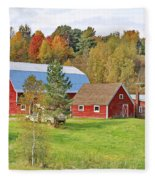 Barn In Autumn Fleece Blanket