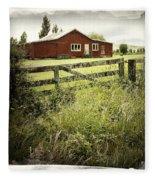Barn In Field Fleece Blanket