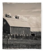Barn In Polaroid Fleece Blanket