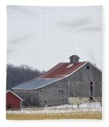 Barn In The Field Fleece Blanket