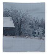 Barn In The Long Wait Fleece Blanket