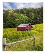 Barn In The Meadow Fleece Blanket