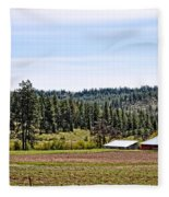 Barn In The Trees Fleece Blanket