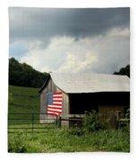 Barn In The Usa Fleece Blanket