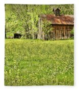 Barn In Wild Turnips Fleece Blanket