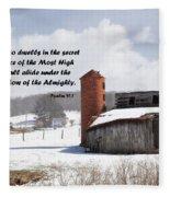 Barn In Winter With Psalm Scripture Fleece Blanket