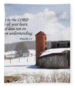 Barn In Winter With Scripture Fleece Blanket