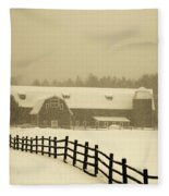 Barn Lake Placid N Y Fleece Blanket