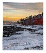 Barn Near The Weyburn Fleece Blanket
