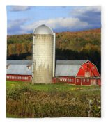 Barn On The River Rd. Fleece Blanket