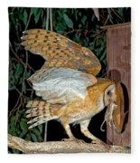 Barn Owl With Prey Fleece Blanket