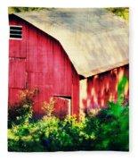 Barn Red Sunset Fleece Blanket