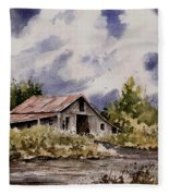 Barn Under Puffy Clouds Fleece Blanket