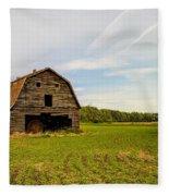 Barn On The Field Fleece Blanket