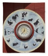Barn Yard Clock Fleece Blanket